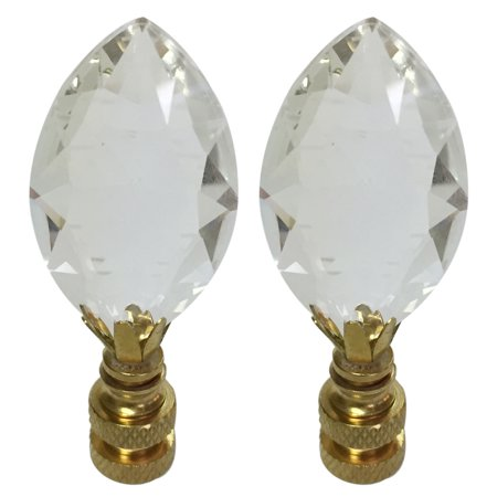 Royal Designs Pear Shaped Clear K9 Crystal Lamp Finial For Lamp Shade with Polished Brass Base Set of