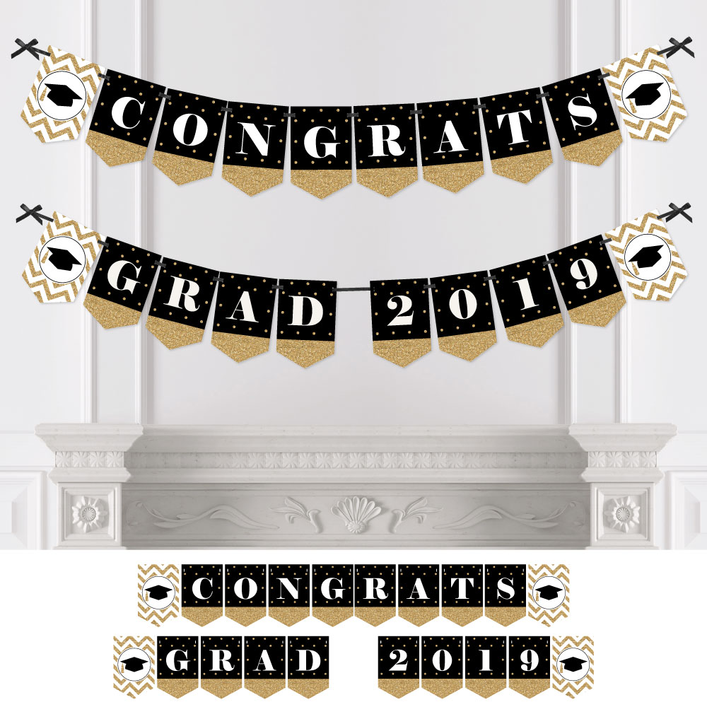 Gold Tassel Worth The Hassle - Graduation Party Bunting Banner - Gold Party Decorations - Congrats Grad 2019