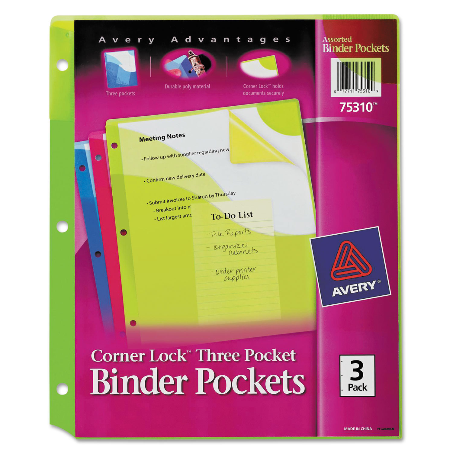 Click here to buy Avery Corner Lock Three Pocket Binder Pockets, Fits 3-Ring Binders, Assorted (Green, Pink, Blue), 3 PK by Avery Products Corporation.