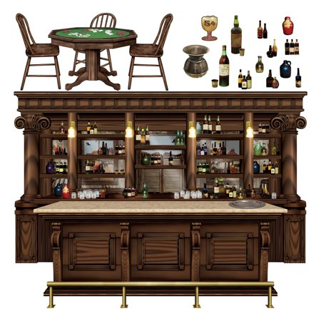 Club Pack of 180 Western Saloon Bar, Poker Table and Bottles Wall Decorations 63