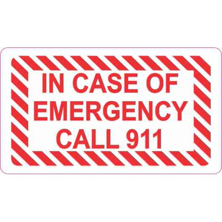 3 5inx2in In Case Of Emergency Call 911 Sticker Vinyl Wall Decal Stickers Signs