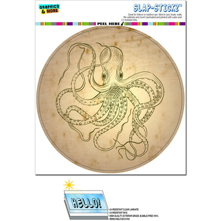 Vintage Ink Drawn Octopus - Sea Monster Tattoo Circle SLAP-STICKZ(TM) Premium Sticker - Sea Tattoo