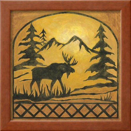 Lodge Moose Silhouette Framed Art Print Wall Art By Chariklia Zarris ...