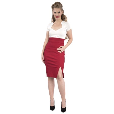 Red Pencil Skirt - Knee Length Fitted w Front Slit - Sz Small to 2X - Vintage Inspired at Hey - Red Pencil Skirt