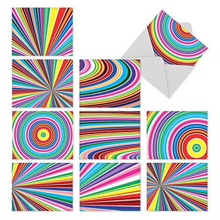 'M3110 ACID RAINBOW' 10 Assorted All Occasions Note Cards Feature Mesmerizing Op Art-like Patterns of Bright Colors with Envelopes by The Best Card - 1991 Pacific Card