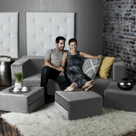 Ja Zipline Convertible Sleeper Sofa Three Ottomans California King Size Bed Pewter