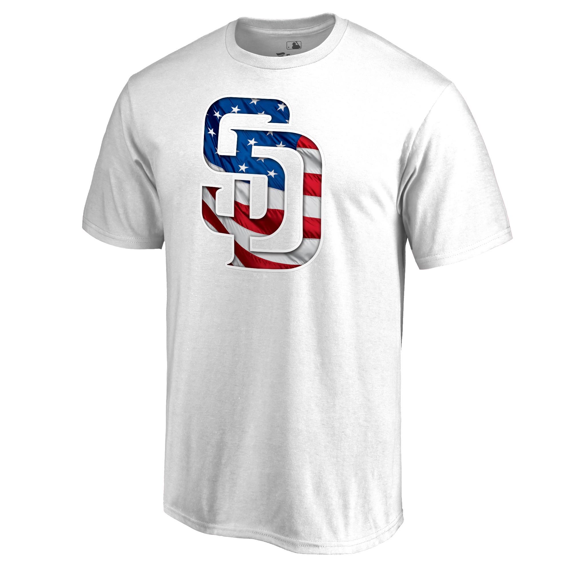 San Diego Padres Fanatics Branded 2018 Stars & Stripes Big & Tall Primary Logo Banner Wave T-Shirt - White