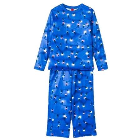 womens blue christmas lights pajamas holiday sleep set - Blue Christmas Lights Walmart