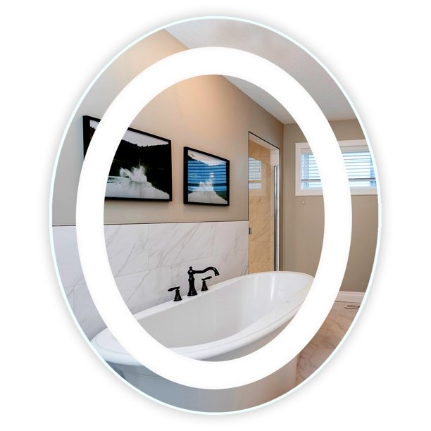Led Front Lighted Bathroom Vanity Mirror 30 Wide X 36 Tall Commercial Grade Oval Wall Mounted Walmart Com Walmart Com