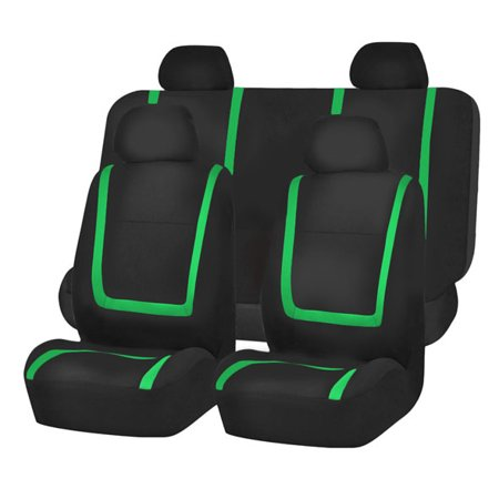 FH Group Unique Flat Cloth Full Set Seat Covers, Green and Black - Green Flats