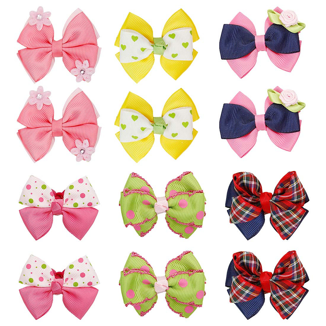 Bundle Monster 6 Pair Baby Girls Bows Flowers Ball Ponytail Holder Hair Tie