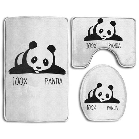 EREHome Baby % Panda White 3 Piece Bathroom Rugs Set Bath Rug Contour Mat and Toilet Lid Cover - image 1 of 2