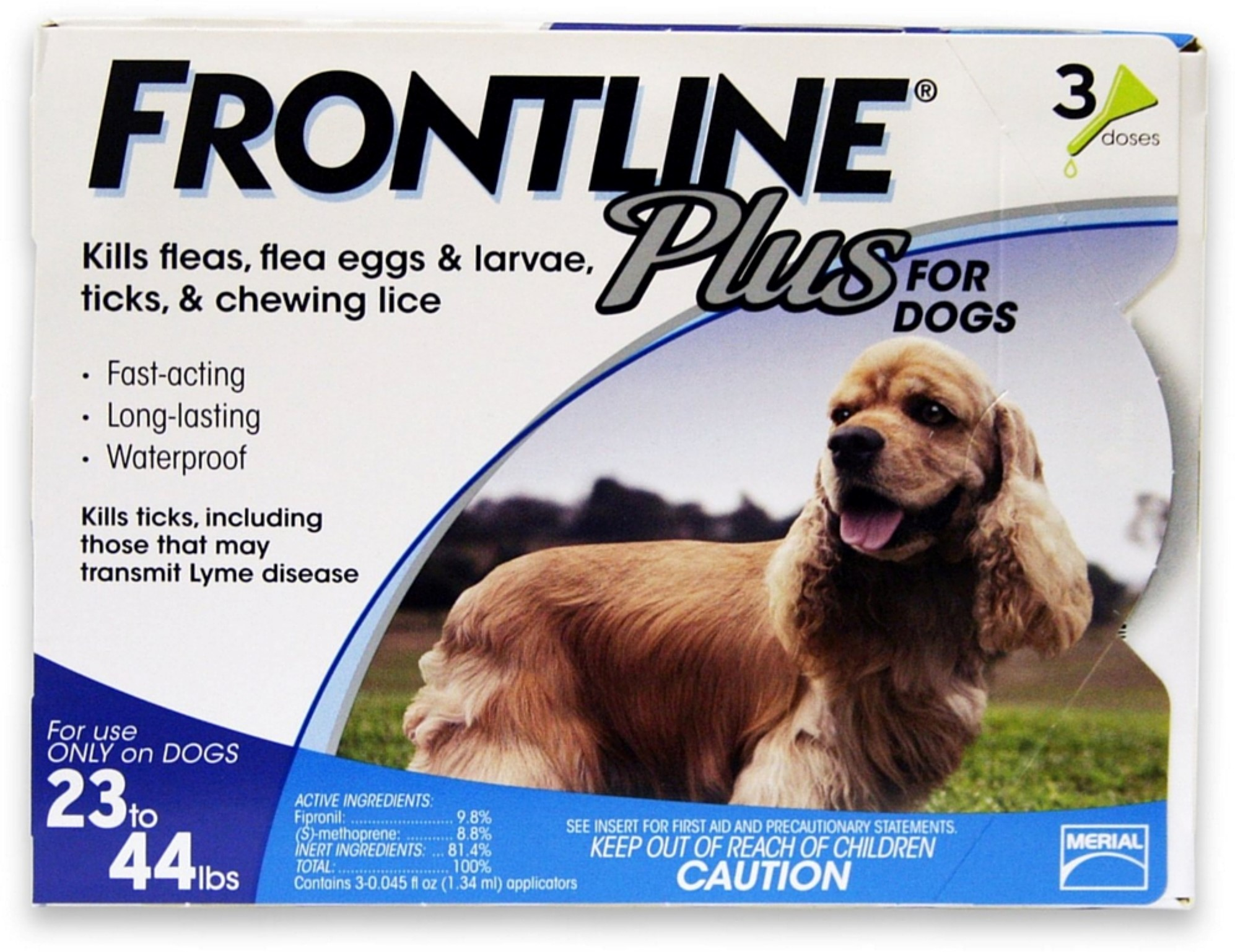 3 Pack Frontline Plus Flea & Tick Control For Medium Dogs, 22-34 lbs 3 ea by