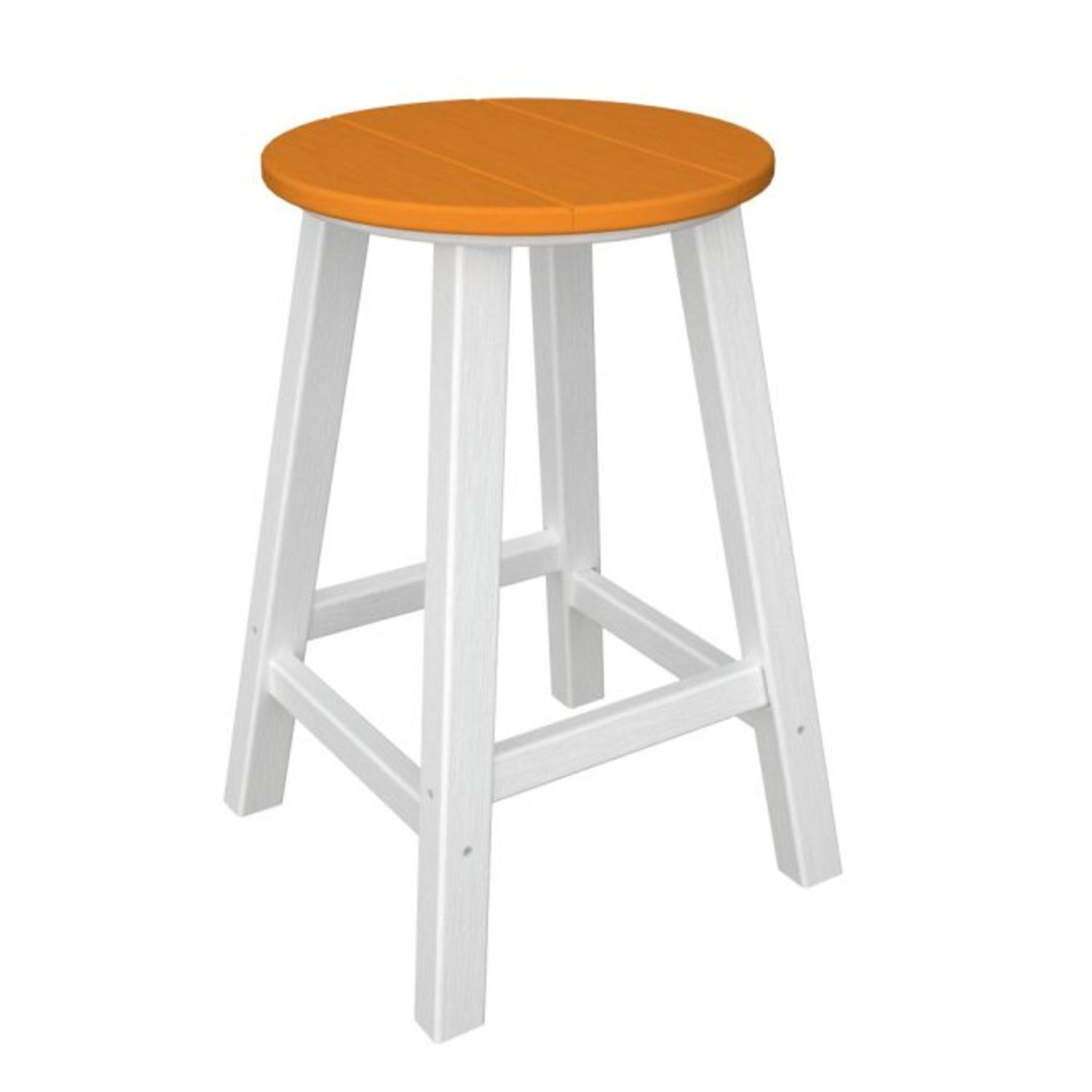 """Pack of 2 Recycled Earth-Friendly Bar Stools - Orange w/ White Frame-24.25"""""""
