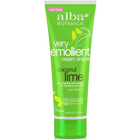 2 Pack - Alba Botanica Natural Very Emollient Cream Shave, Coconut Lime 8 oz