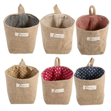 Cotton Linen Laundry Hamper Bag for Home Gadget Storage Organizer Foldable Basket Bin Hanging Laundry Basket (Blue Stripe) ()