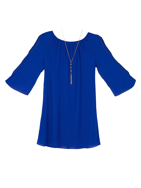 Girl's Gathered Bell-Sleeve Dress