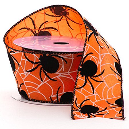 Spiders & Webs Halloween Wired Ribbon - 2.5