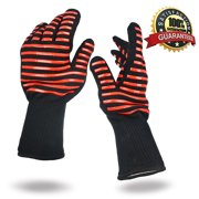 BBQ Grilling Gloves Heat Resistant 923°F Cooking Gloves Hot Food Gloves Anti-Slip Aramid Fiber (1 Pair)