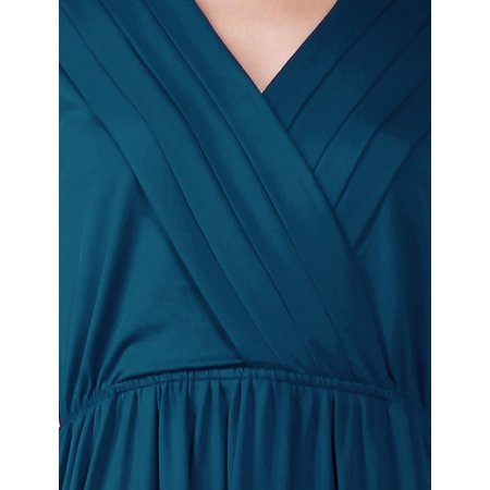 Allegra K Women's Cinched Waist Cross V Neck Dress Blue (Size L / 12)