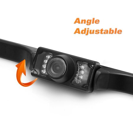 HD Backup Camera and Monitor License Plate Hitch Rear View Camera with True Color Reproduction and Swivel Angle, Night Vision and IR LED Lights for Illumination - image 5 of 6