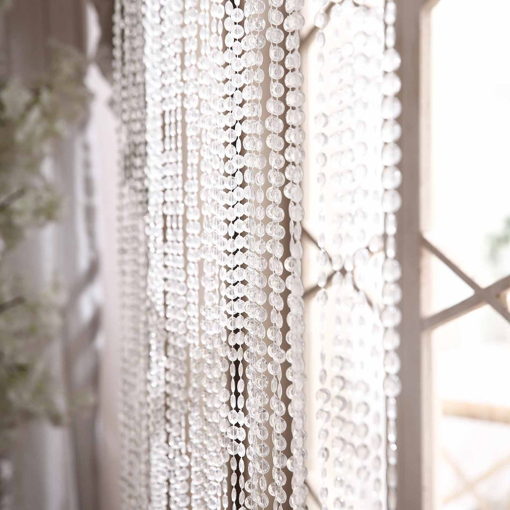 Efavormart PRINCESS-Style Endless Diamond Curtain Backdrops 12ft x 3ft Clear Diamonds w/ Metal Rod Top