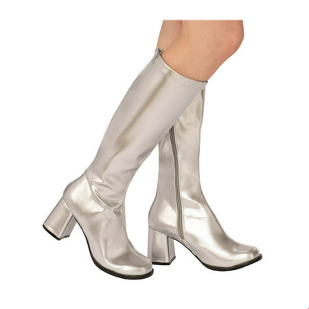 Adult GoGo Boot Silver Halloween Costume Accessory](Boots Halloween Makeup)