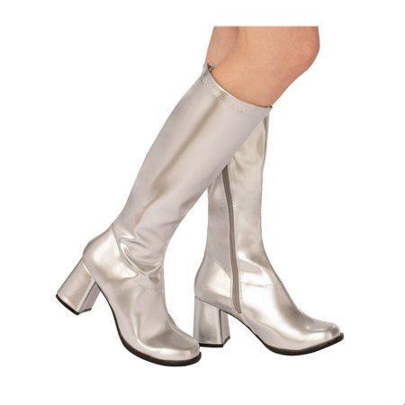 Adult GoGo Boot Silver Halloween Costume Accessory](Cowgirl Boots Costume)