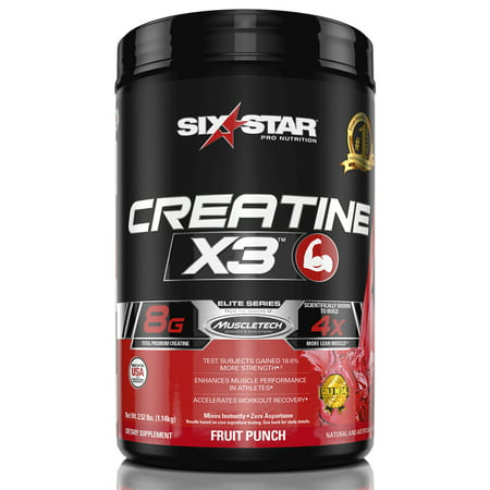Six Star Pro Nutrition Elite Series Creatine x3 Powder, Fruit Punch, 35