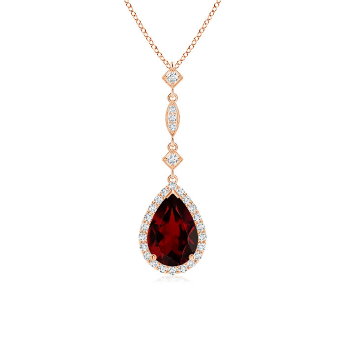 Angara Pear Shaped Garnet Diamond Drop Pendant in 14K Yellow Gold 5WnUKR