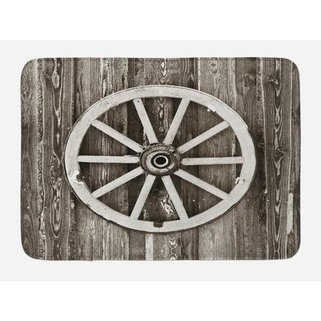 Barn Wood Wagon Wheel Bath Mat, Retro Wheel on Timber Wall Barn House Village Cart Circle, Non-Slip Plush Mat Bathroom Kitchen Laundry Room Decor, 29.5 X 17.5 Inches, Dark Brown and White, Ambesonne