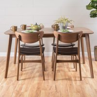 "Noble House Ava Natural Walnut Wood Dark Brown 5-Piece 60"" Dining Set"
