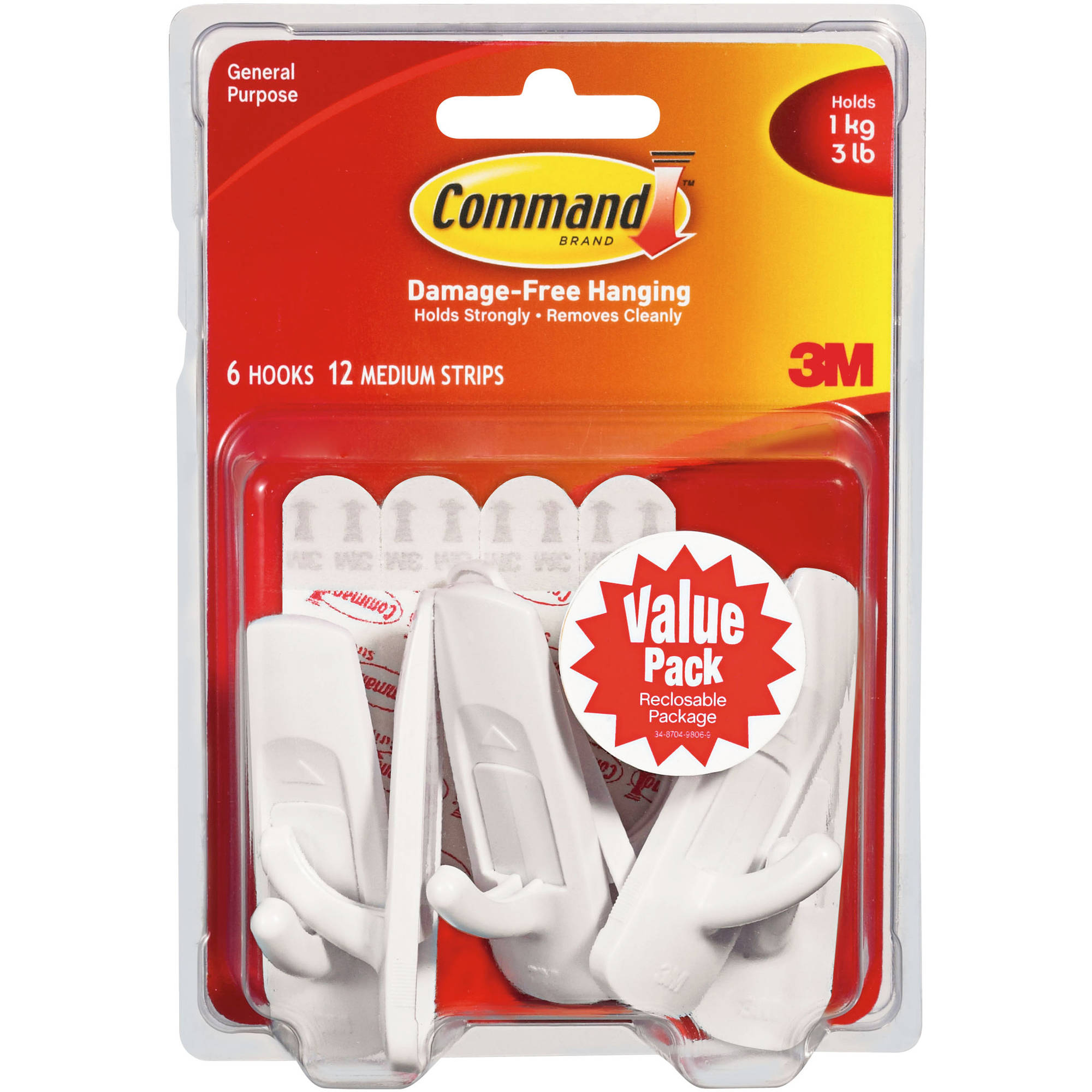 Command Medium Hooks Value Pack, White, 6 Hooks, 12 Strips, 17001-VP-6PK