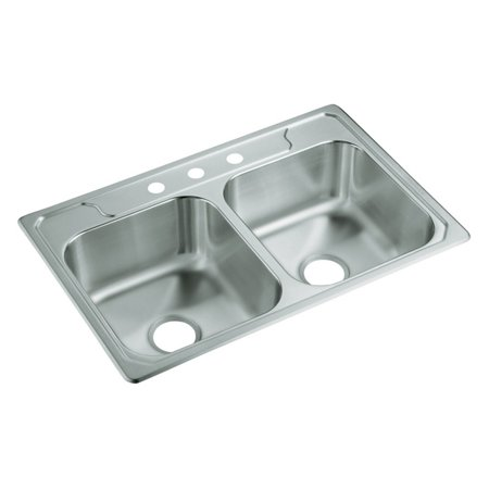 Sterling by Kohler Middleton® 14633-3 Double Basin Drop In Kitchen Sink
