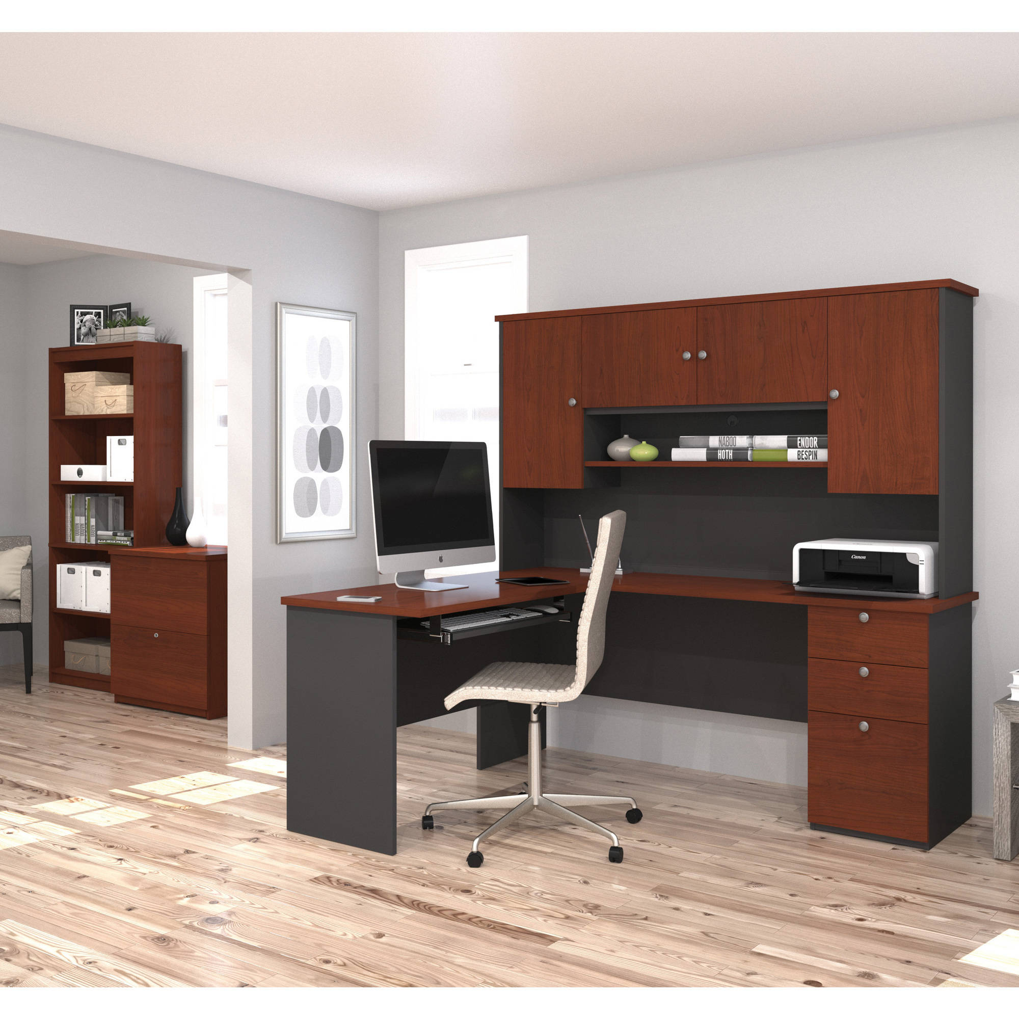 Bestar Manhattan L-shaped Workstation with Lateral File and Bookcase, Bordeaux & Graphite