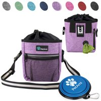 PetAmi Dog Treat Pouch   Dog Training Pouch Bag with Waist Shoulder Strap, Poop Bag Dispenser and Collapsible Bowl   Treat Training Bag for Treats, Kibbles, Pet Toys   3 Ways to Wear