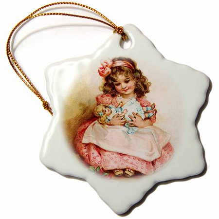 3dRose Brundage – Girl with Doll, Snowflake Ornament, Porcelain, 3-inch