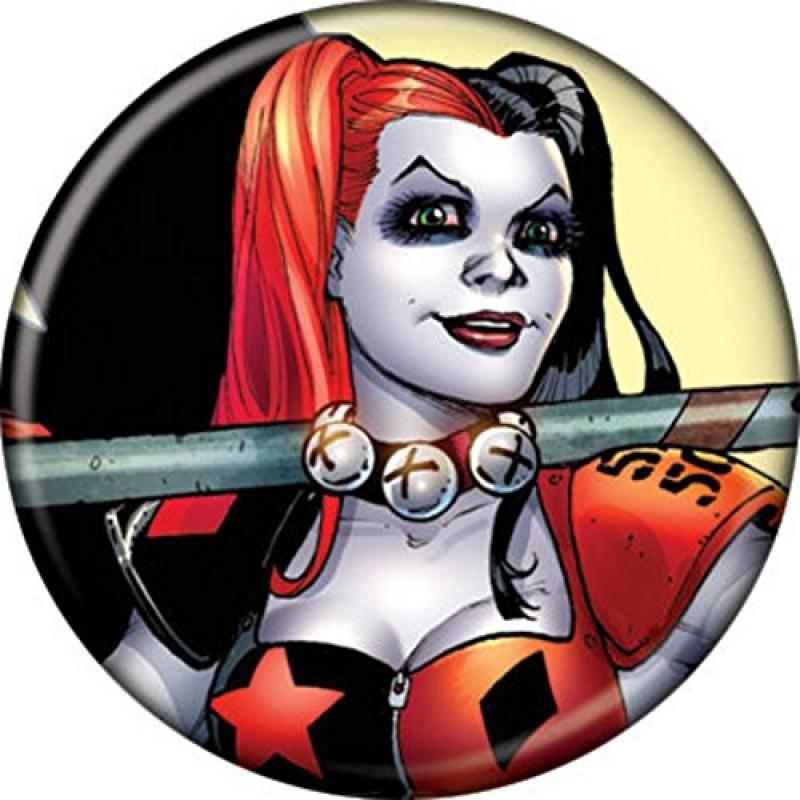 """Licensed DC Comics (Batman) Harley Quinn with Mallet 1.25"""" Button Pinback B-day Party... by"""