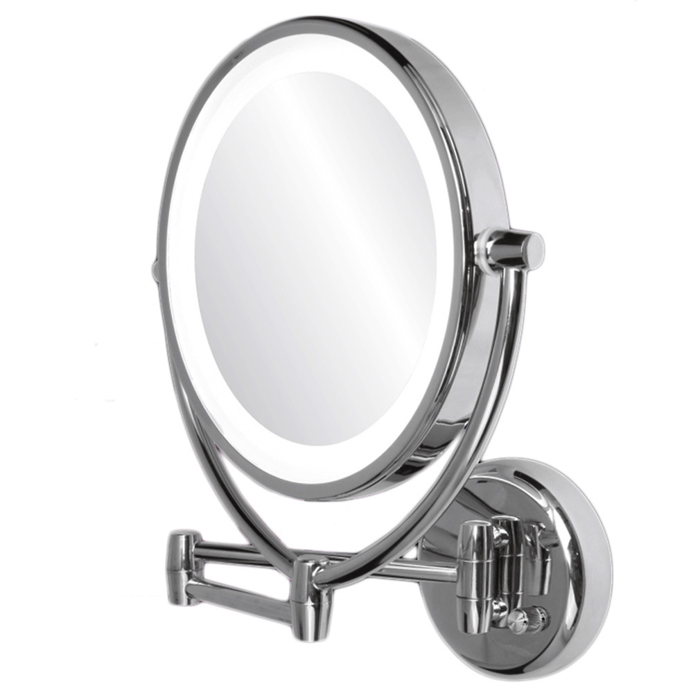 ovente mlw45ch 95 inch led lighted wall mount makeup mirror 1x10x polished chrome walmartcom