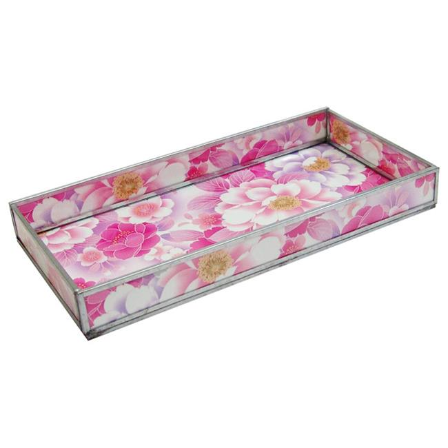 Nu Steel TR-245 Pink Floral Print Decorative Glass Tray