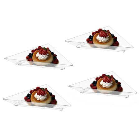 Mini Clear Plastic Triangle Dessert Appetizer Plates. Pack Includes 48 Tasting Sampling Hors D'oeuvres Disposable Dishes.