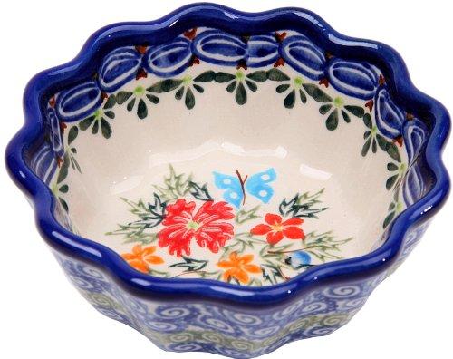 0432//238 1//2 Cup Polish Pottery Ceramika Boleslawiec Bowl Babka Small Royal Blue Patterns with Red Cornflower and Blue Butterflies Motif