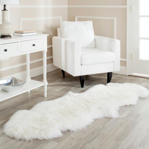 Safavieh Prairie Natural Pelt Sheepskin Wool White Shag Rug  2u0027