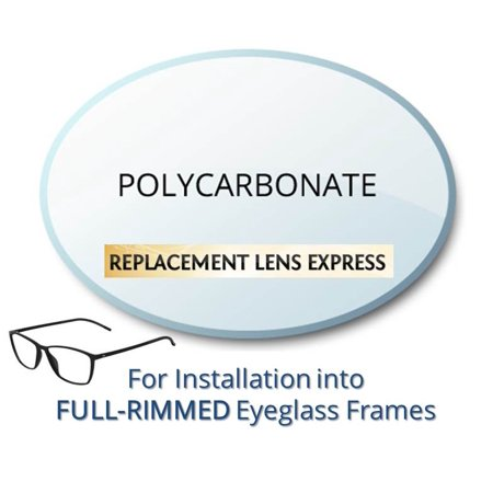 Single Vision Polycarbonate Prescription Eyeglass Lenses, Left and Right (One Pair), for installation into your own Full-Rimmed Frames, Anti-Scratch Coating Included (Halloween Contact Lenses With No Prescription)