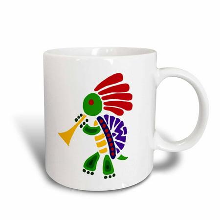 3dRose Funny Colorful Turtle Dancing Kokopelli and Playing Horn - Ceramic Mug, 11-ounce