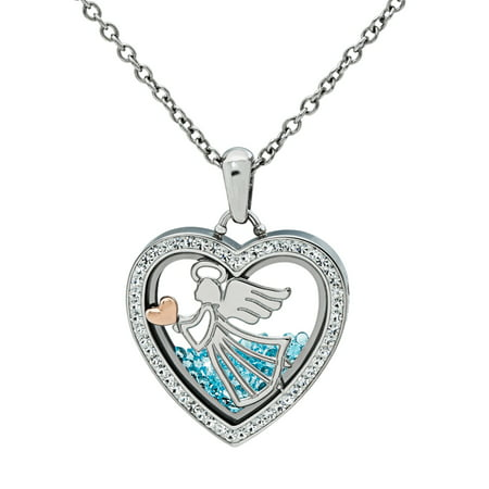Stainless Steel Angel Watch Over Me Crystal Shaker Heart Pendant, 18 Austrian Crystal Angel Necklace