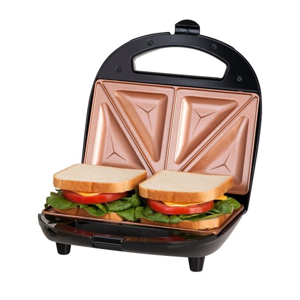 Gotham Steel Dual Electric Sandwich Maker And Panini Grill With Ultra Nonstick Copper Surface Walmart Com Walmart Com