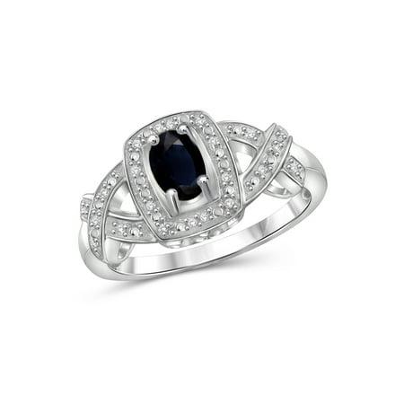 0.67 Carat T.G.W. Sapphire Gemstone and 1/20 Carat T.W. White Diamond Women's Ring Cut Precious Sapphire Ring