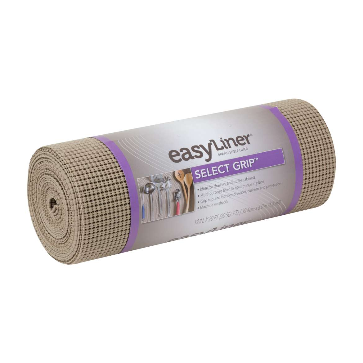 Duck Select Grip Easy Liner 12 In. x 20 Ft. Shelf Liner, Brownstone