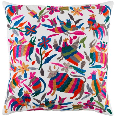 """20"""" Multi-Color Embroidered Farm Animals and Floral Pattern Throw Pillow Cover"""